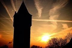 Wasserturm im Sonnenuntergang